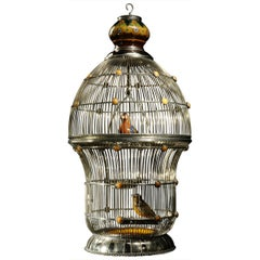 White Metal Cage with Ceramic Birds, One of a Kind