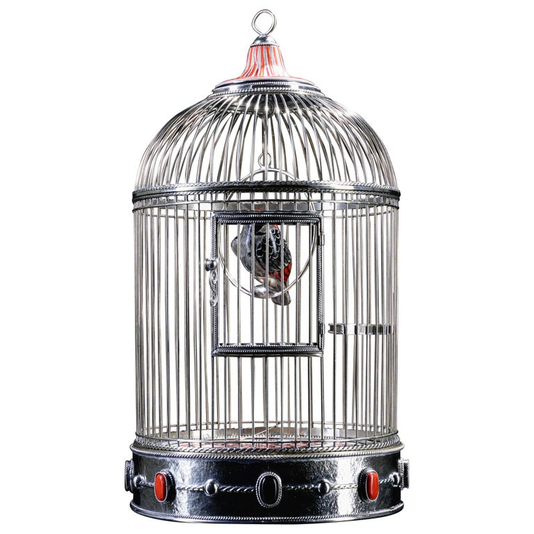 White Metal Cage with Ceramic Birds, One of a Kind For Sale