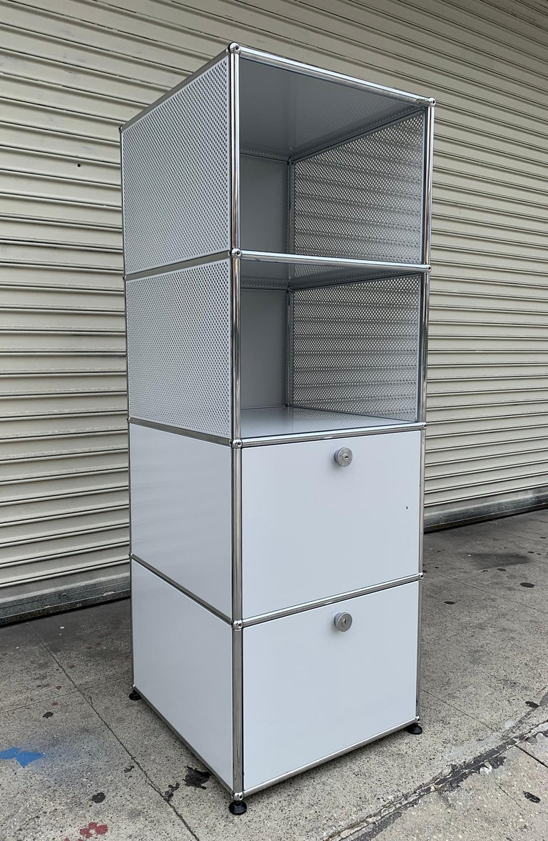 Beautiful metal file cabinet designed and manufactured in Switzerland by USM Haller,