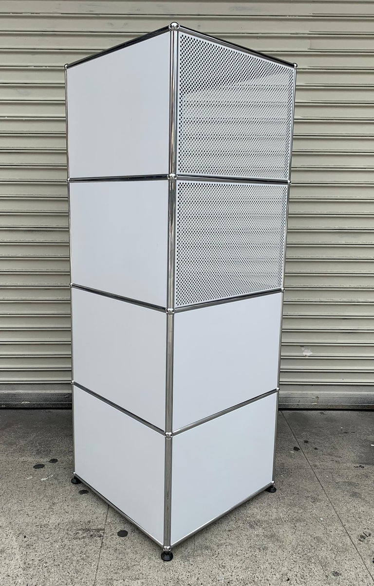Swiss White Metal File Cabinet by USM Haller For Sale