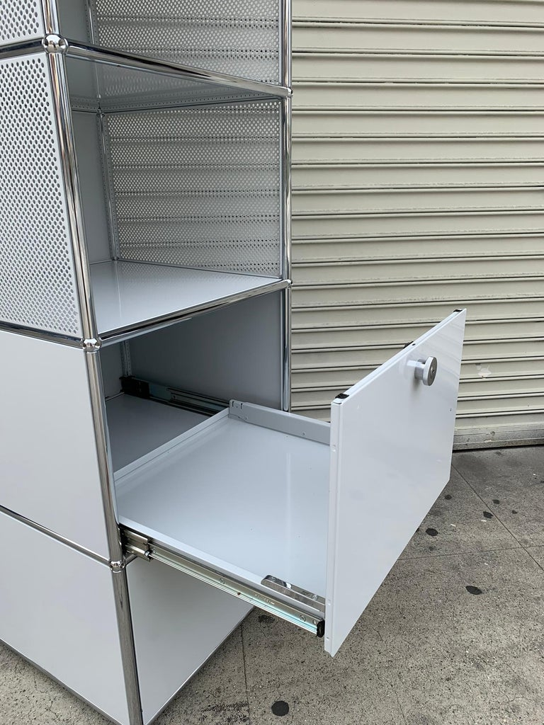 Contemporary White Metal File Cabinet by USM Haller For Sale