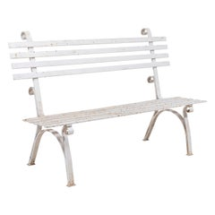 White Metal Garden Bench with Scrolled Details