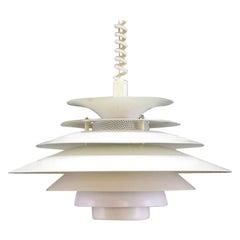 White Metal Lamp Danish Design Vintage Chandelier, 1960s