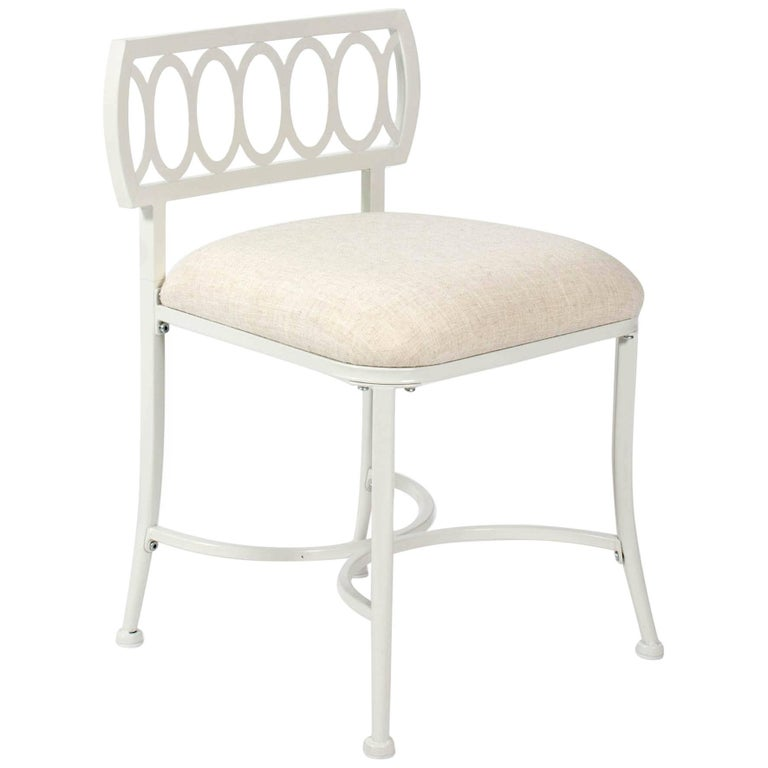 White Metal Loop Back Vanity Chair