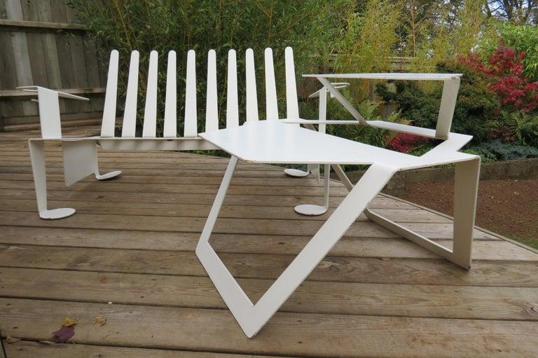 White Metal Modern Design Bench, 1990s For Sale 4