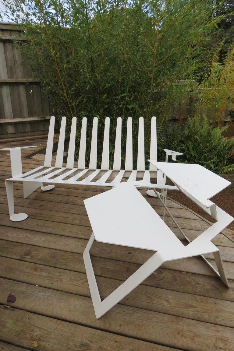 White Metal Modern Design Bench, 1990s For Sale 5