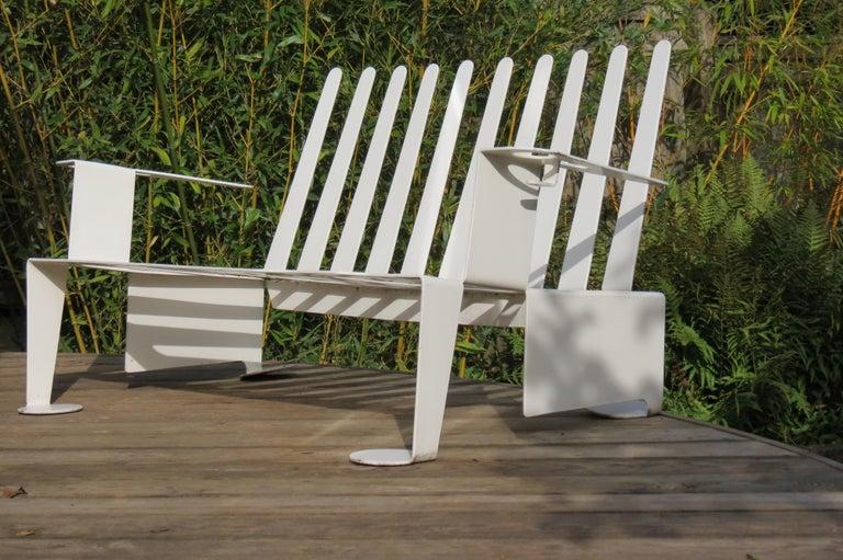 British White Metal Modern Design Bench, 1990s For Sale
