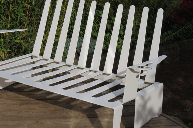White Metal Modern Design Bench, 1990s In Good Condition For Sale In Stow on the Wold, GB
