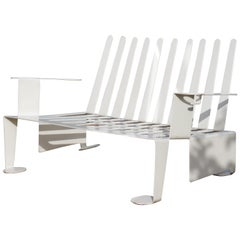 White Metal Modern Design Bench, 1990s