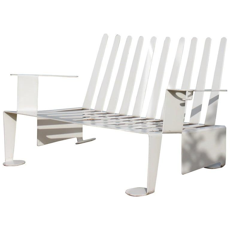 White Metal Modern Design Bench, 1990s For Sale