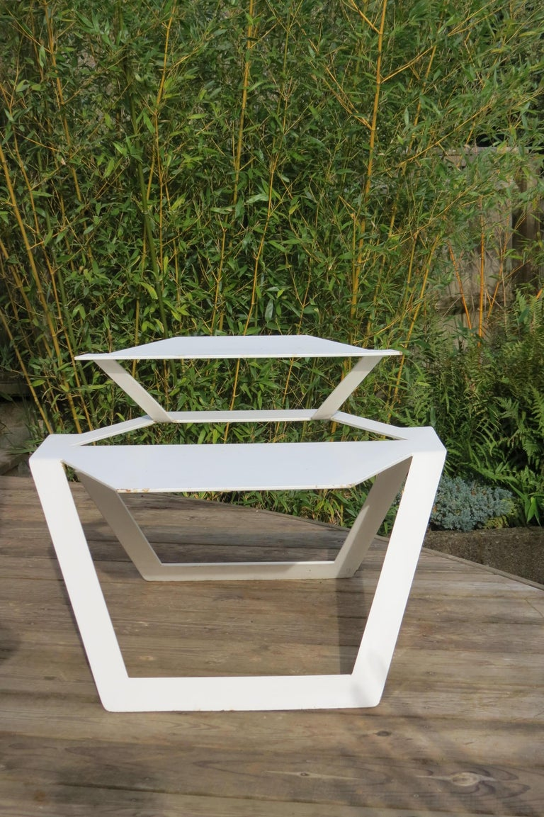 European White Metal Modern Design Table, 1990s For Sale