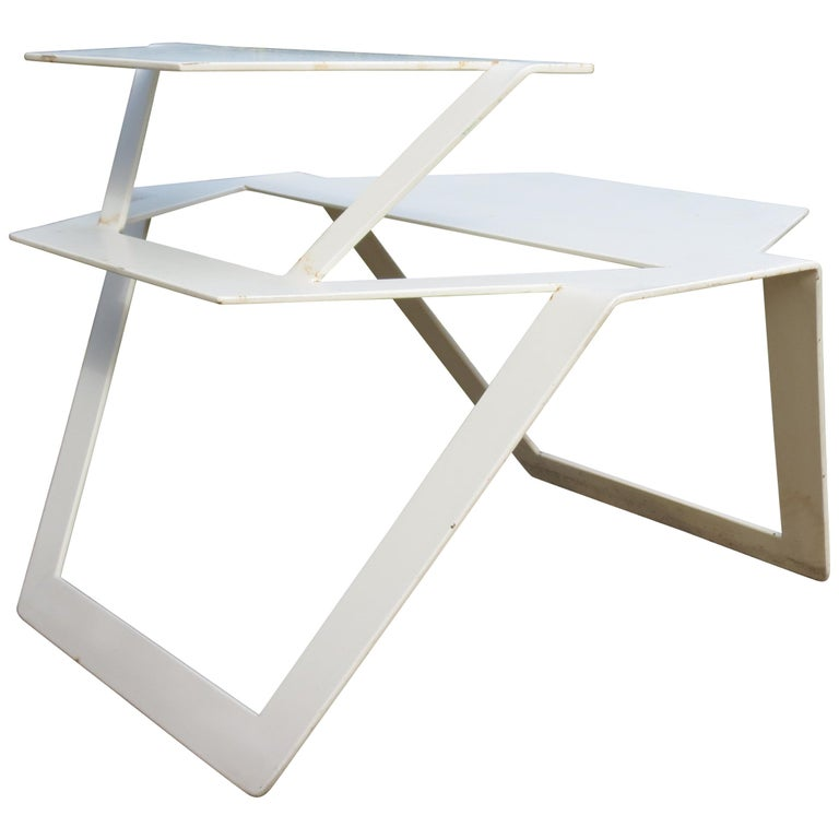 White Metal Modern Design Table, 1990s For Sale