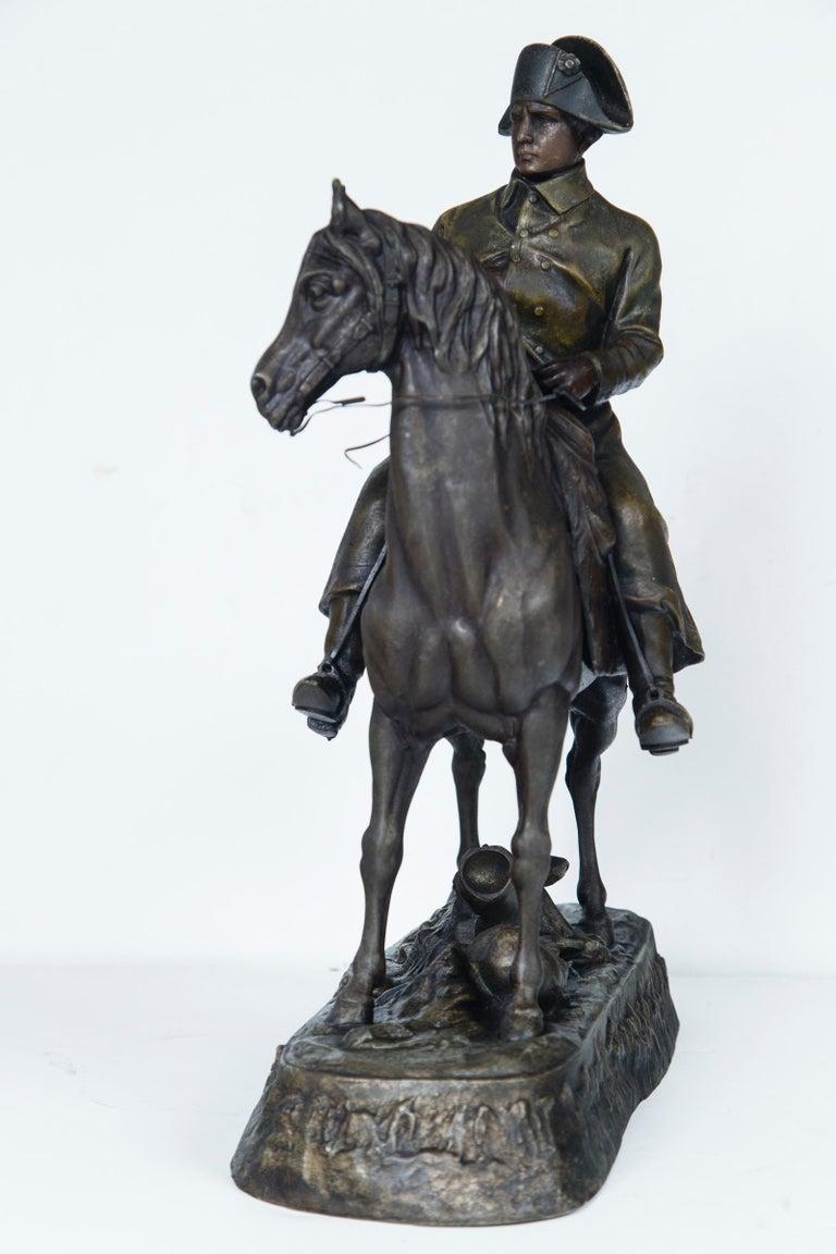 Cast White Metal Napoleon on Horseback For Sale