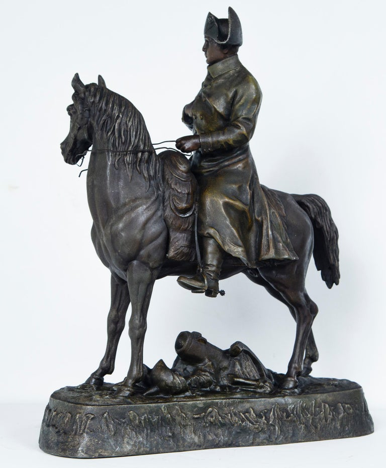 White Metal Napoleon on Horseback In Good Condition For Sale In Woodbury, CT