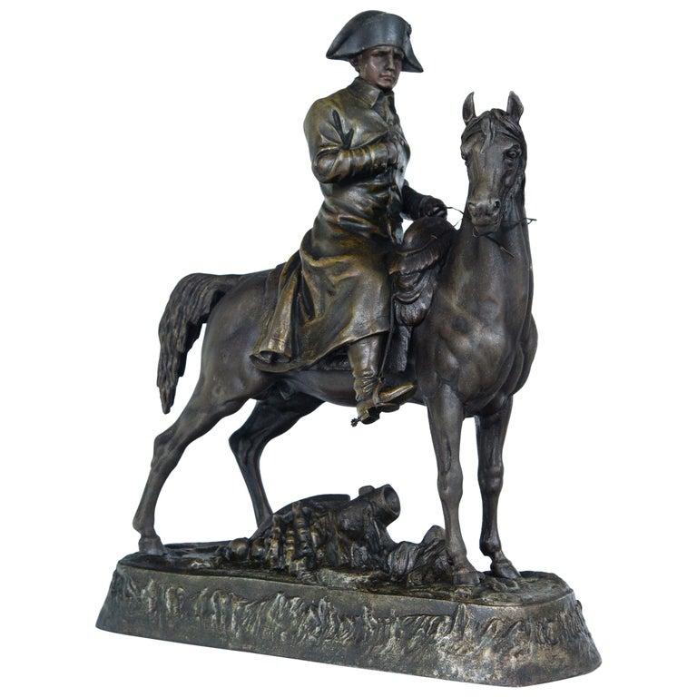 White Metal Napoleon on Horseback For Sale