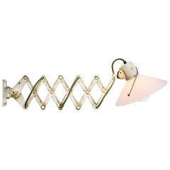 White Metal Scissor Vintage Industrial White Opaline Glass Wall Light Scone