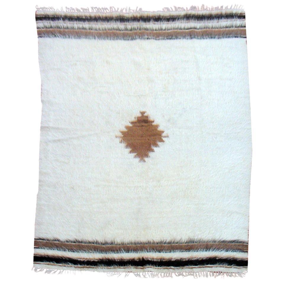 White Mid-20th Century Turkish Mohair Wool Rug