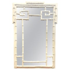 Chinoiserie Chinese Chippendale Style White Faux Bamboo Mirror