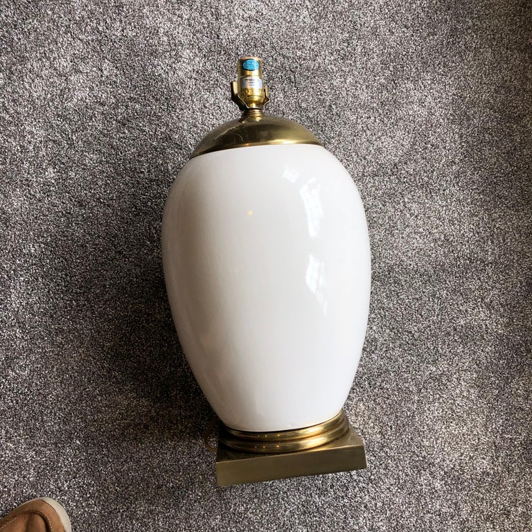 White Mid-Century Modern Ellipse Shaped Brass and Enamel Table Lamp For Sale 5