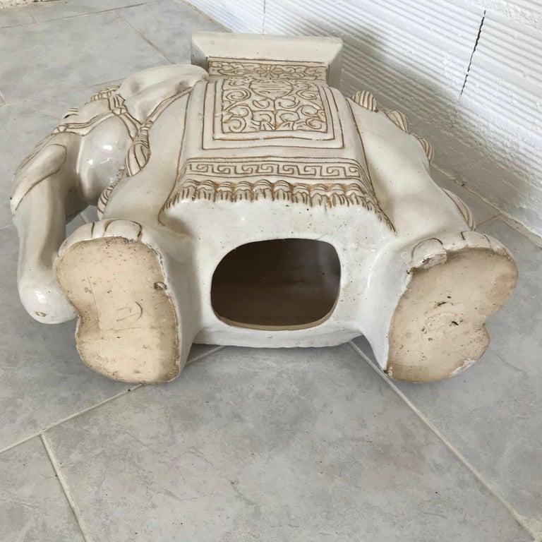 White Midcentury Ceramic Elephant Side Table Or Planter