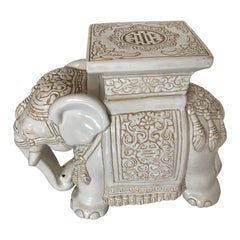 White Midcentury Ceramic Elephant Side Table, or Planter