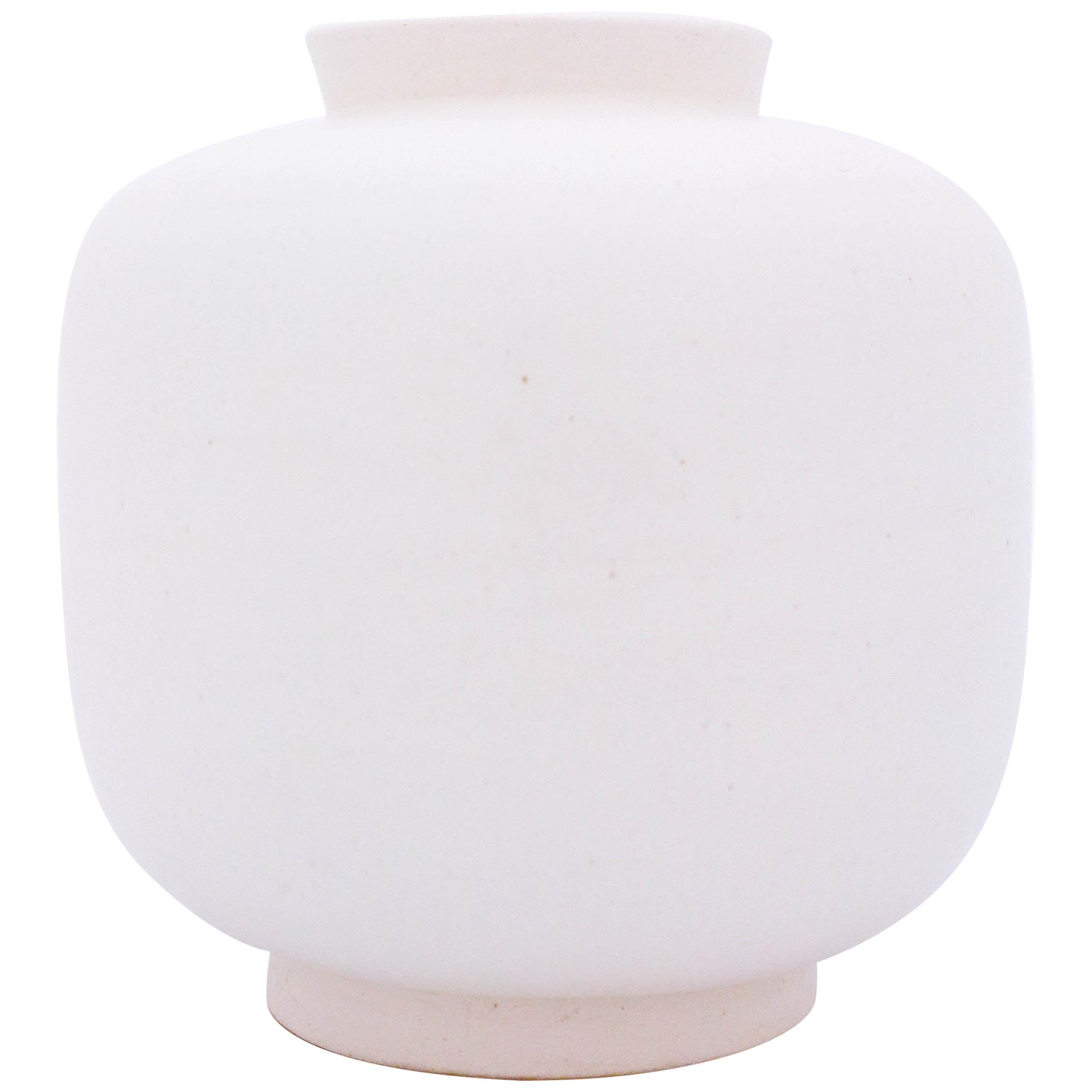 White Midcentury Vase, Carrara 1132, Wilhelm Kåge Gustavsberg