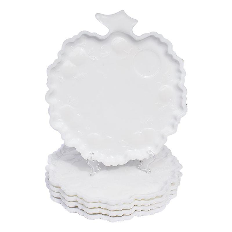 White Milk Glass Cabbage Shape Dessert Plates or Trays, Set of 5