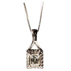 "White Millennium Cut Diamond Pendant .84ct TW 18k Gold On Chain 20"""