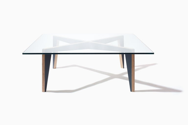 Cross Legs Wood Coffee Table White with Glass Top by Miduny, Made in Italy In New Condition For Sale In Brooklyn, NY