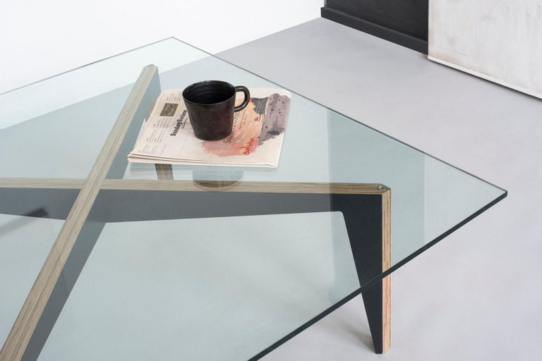 Contemporary Cross Legs Wood Coffee Table White with Glass Top by Miduny, Made in Italy For Sale