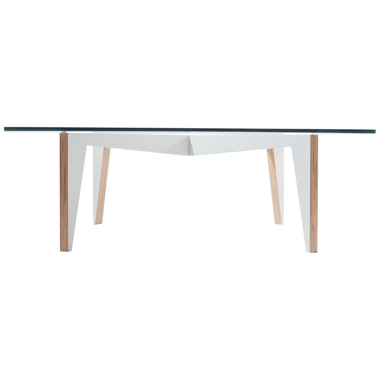 Cross Legs Wood Coffee Table White with Glass Top by Miduny, Made in Italy For Sale