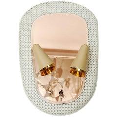 White Mirror with Wall Sconces by Kada Oudainia for Glustin Luminaires