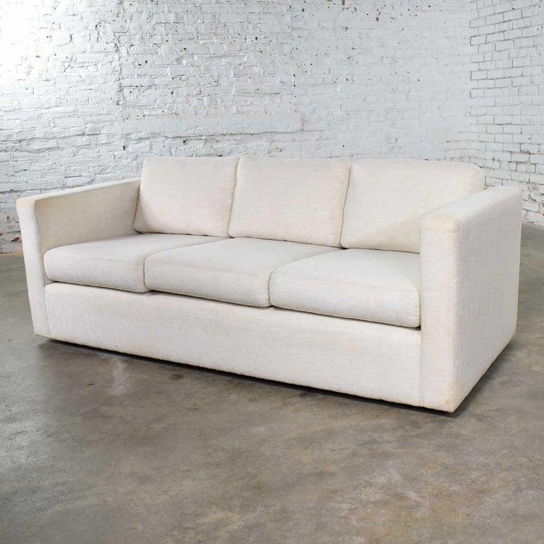 Fabric White Modern Tuxedo Style Sofa by Milo Baughman for Thayer Coggin For Sale
