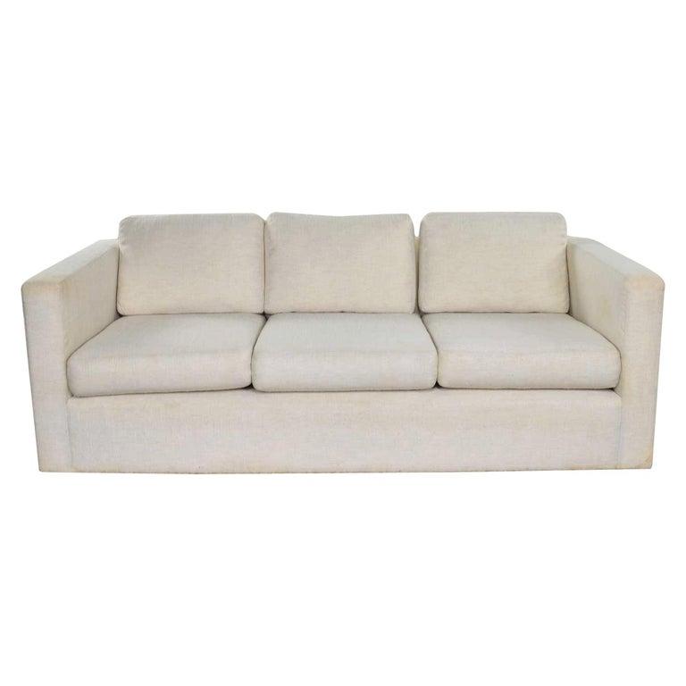 White Modern Tuxedo Style Sofa by Milo Baughman for Thayer Coggin For Sale