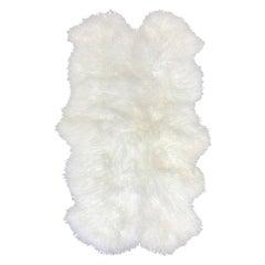 White Mongolian Fur Throw Rug