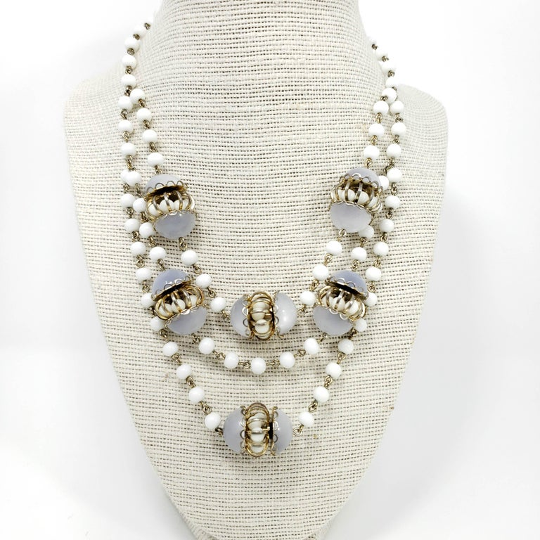 White Moonglow Lucite and Milk Glass Bead Necklace and Dangling Earrings Set In Fair Condition For Sale In Milford, DE