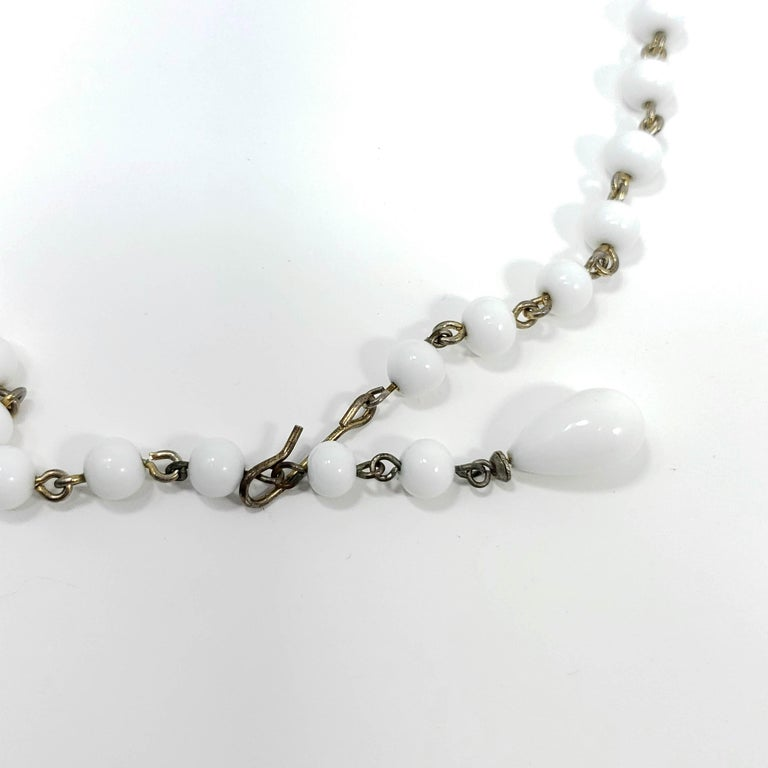 White Moonglow Lucite and Milk Glass Bead Necklace and Dangling Earrings Set For Sale 1