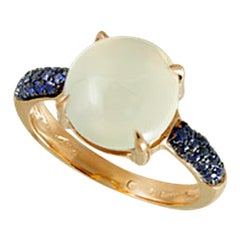 White Moonstone and Blue Sapphire 18 Karat Yellow Gold Italian Cocktail Ring