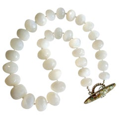 White Moonstone Choker Necklace with Abalone Inlay Toggle, Selene Necklace
