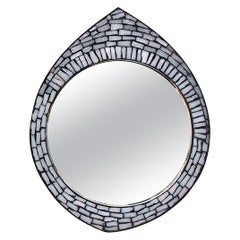 White Mosaic Accent Mirror, 1950s, Germany
