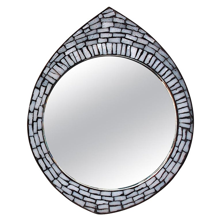 White Mosaic Accent Mirror, 1950s, Germany For Sale