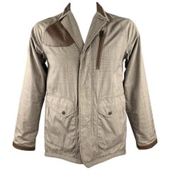WHITE MOUNTAINEERING Size L Khaki Glenplaid Cotton Hidden Buttons Jacket