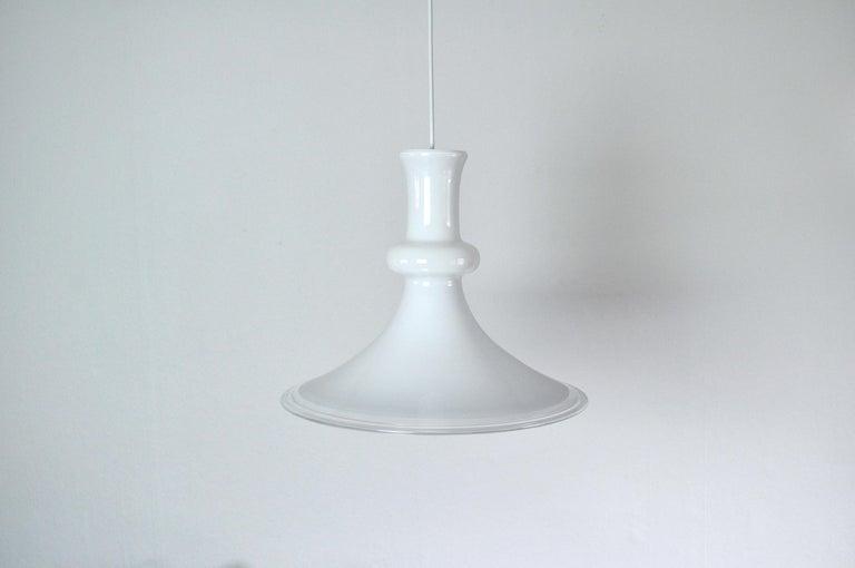 White mouth blown opaline glass pendant
