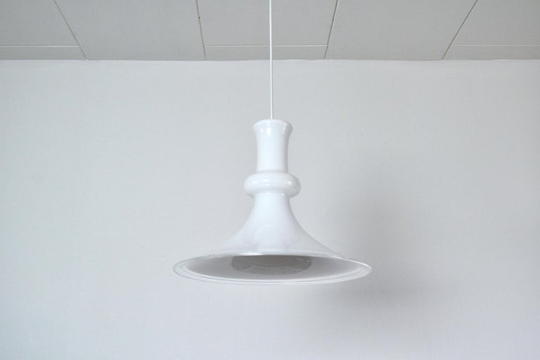 Scandinavian Modern White Mouth Blown Opaline Glass Pendant for Holmegaard, Denmark, 1980s For Sale