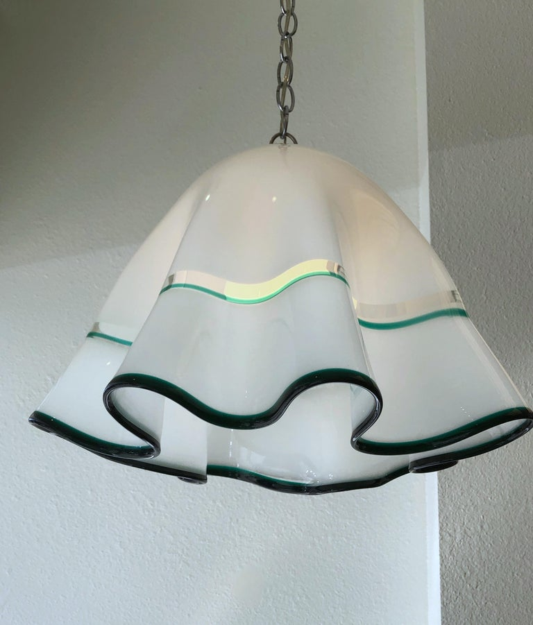 Modern White Murano Glass  and Chrome Hanging Lamp by Mazzega For Sale