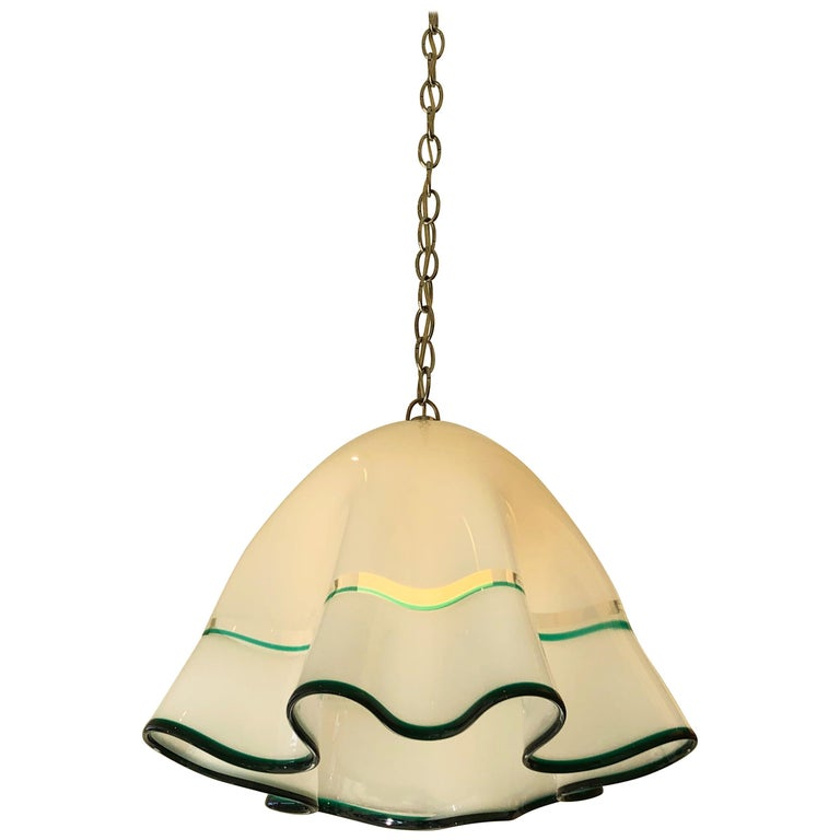 White Murano Glass  and Chrome Hanging Lamp by Mazzega For Sale