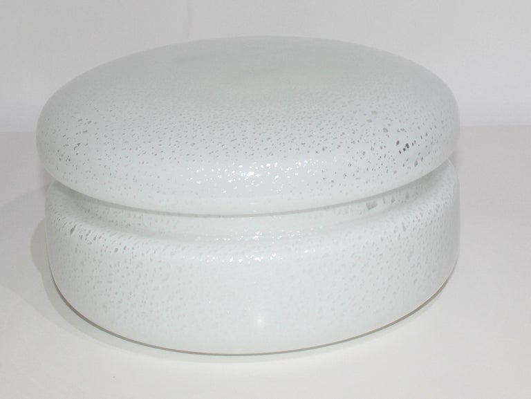 Modern White Murano Glass Covered Dish by Tommaso Barbi For Sale