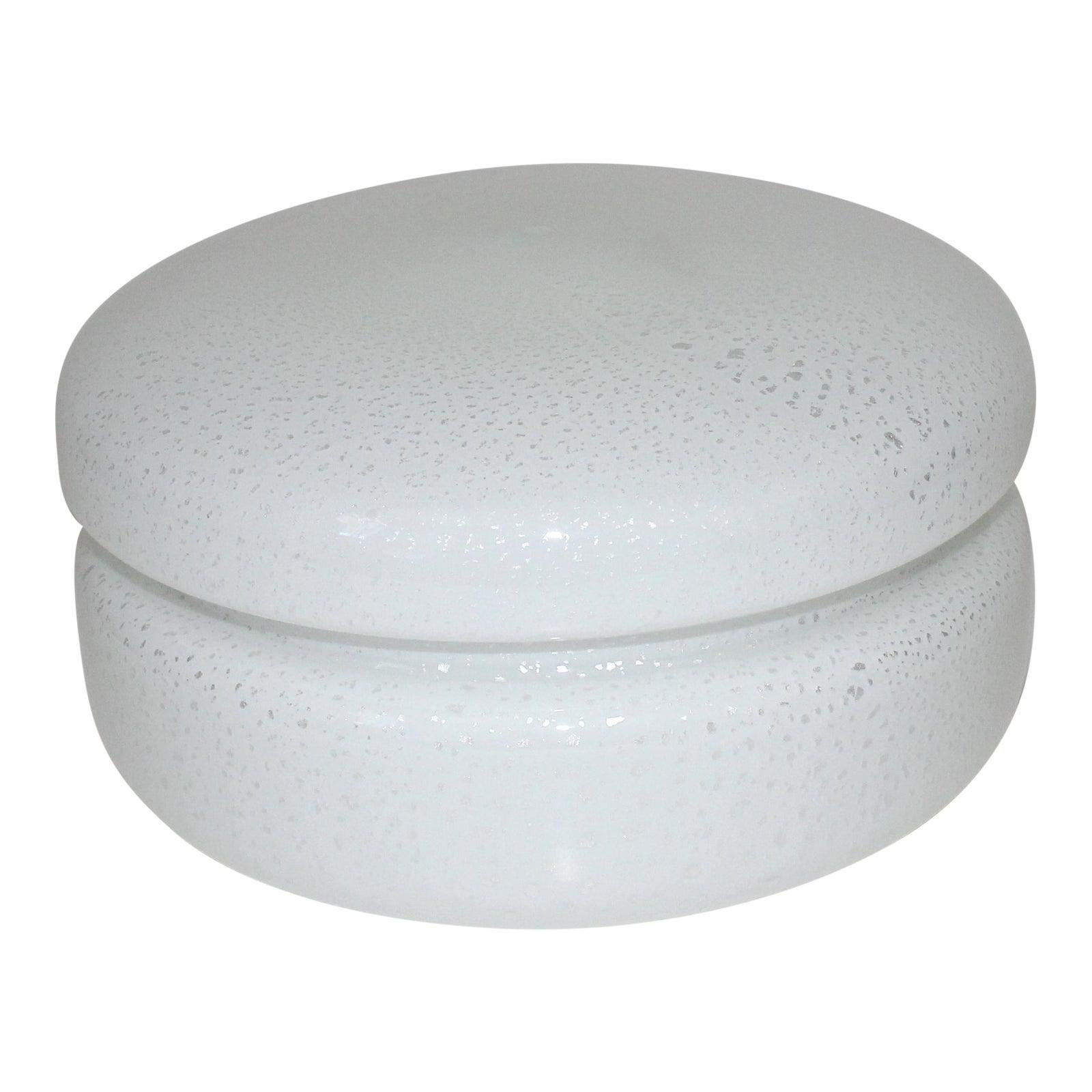 White Murano Glass Covered Dish by Tommaso Barbi