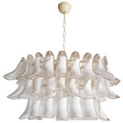 White Murano Glass Oval Shape Mid-Century Modern Petal Chandelier by Mazzega
