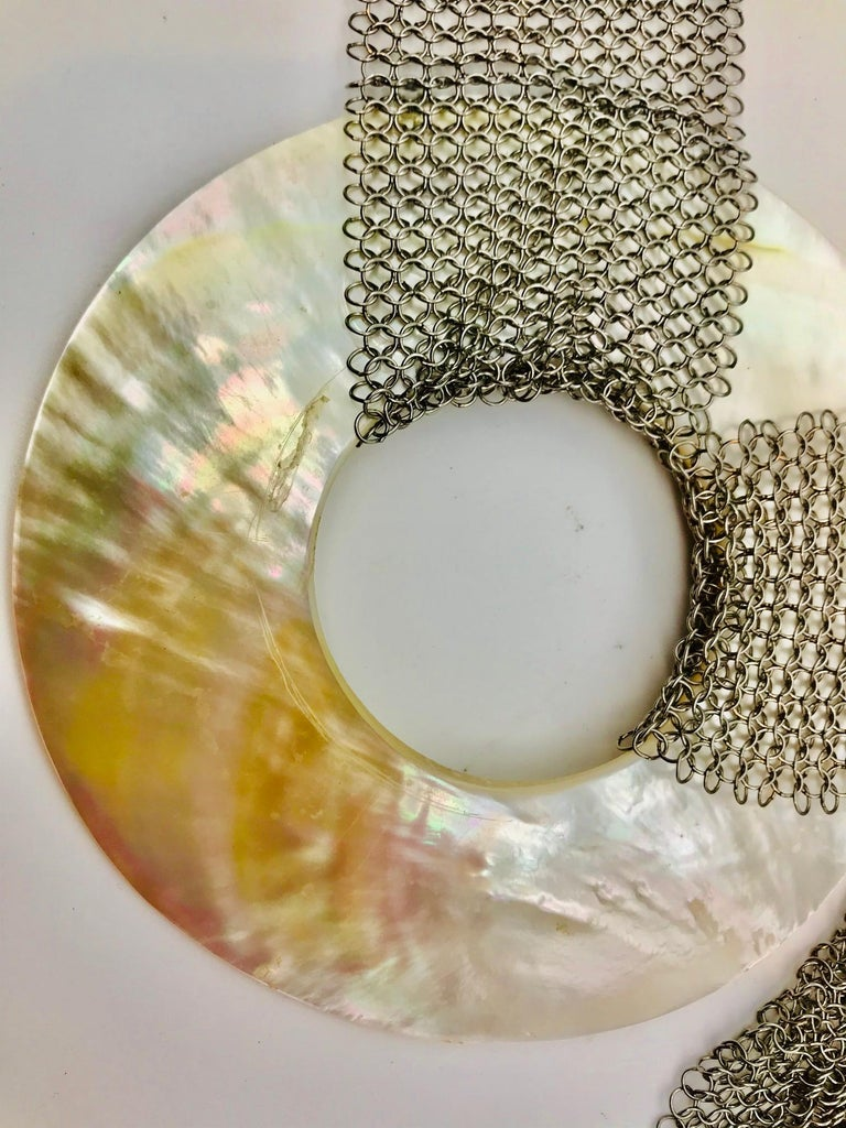 Women's or Men's White Nacre Belt /Necklace/ Earrings on Stainless Steel Mesh, by Sylvia Gottwald For Sale